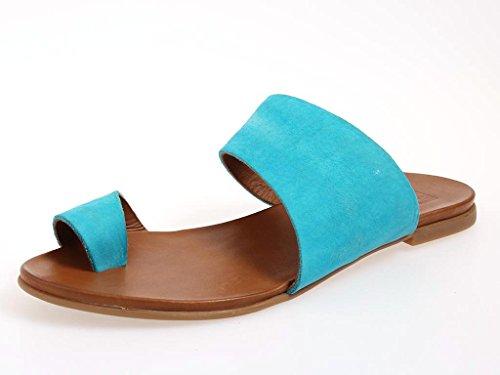 KimKay Ledersandale Zehensteg Sandale Nubuk Leder Sommerschuhe 3705 türkis
