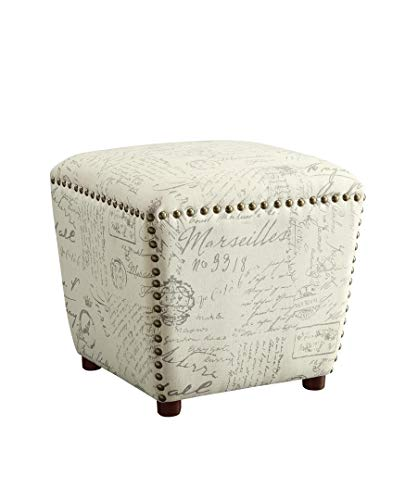 Upholstered Ottoman with Nailhead Trim Off White (Pouf Inexpensive Ottoman)