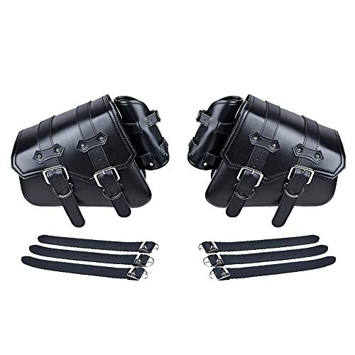 - Compatible with Harley Sportster XL883 XL1200 Black PU Leather Solo Swing Arm Saddlebag and and Pannier Storage (Left & Right)