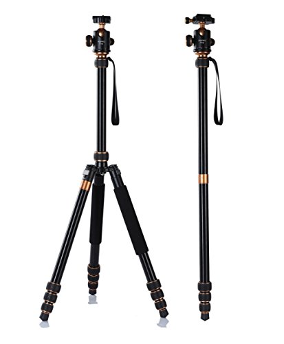 P18 Camera Tripod REPPO travel tripod 70 Inch CNC Aluminium Foldable tripods for canon nikon sony Monopod Ball Head Quick Release Plate and bag For Digital/Video/DSLR Cameras - 18KG Max Load ( BLACK)