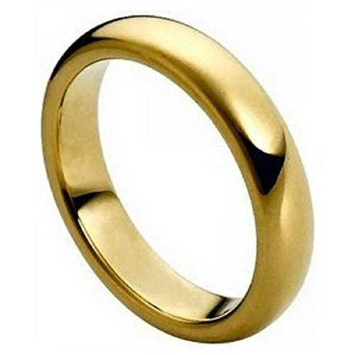 (4mm 316L Stainless Steel 18k Plated Gold Polish Dome COMFORT FIT Wedding Band Ring Size 4-13 (316L Stainless Steel Grade, 12))