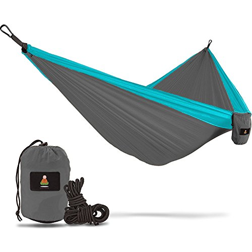 Double Camping Hammock With Straps - UNIQUE 4in1│Complete Fast Setup Hammocks Bundle, Waterproof, Lightweight Parachute Nylon, in Compression Tree Sack Blue