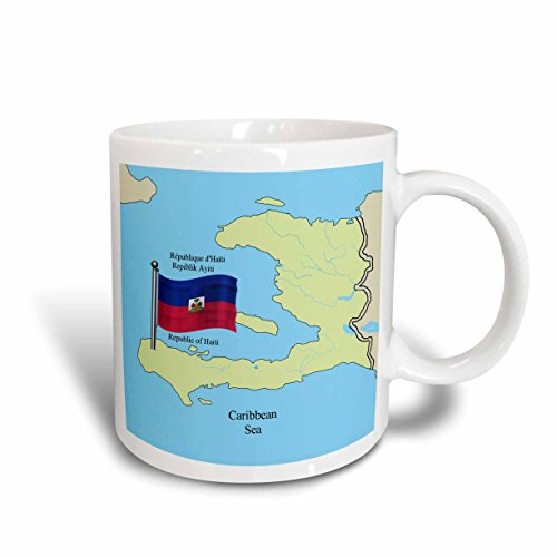 (3dRose mug_63254_1 The Flag and Map of Haiti with The Republic of Haiti Printed in English, French and Haitian Creole Ceramic Mug, 11-Ounce)