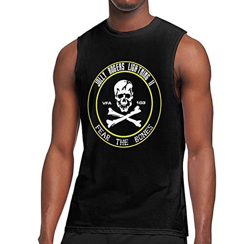VFA 103 Jolly Rogers Mens 100% Cotton Sleeveless Shirts Top Muscle T-Shirts Tank Top Black ()