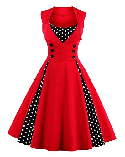 HOMEY INN Women's Retro 1950s Style Polka Dot Print Rockabilly Party Vintage Dress (L, Red) ()