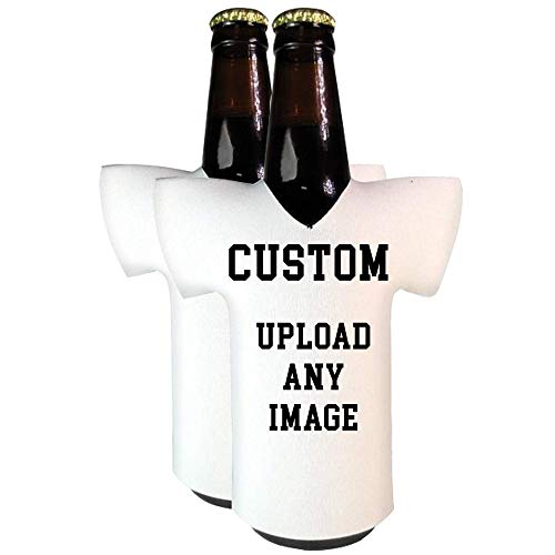 Personalized Custom Jersey Bottle Coolies | Upload ANY Full Color Photo | Funny Novelty Beer Cooler Huggie - Set of two (2) | Beer Holder | Craft Beer Wedding Gifts | Quality Insulated Neoprene -