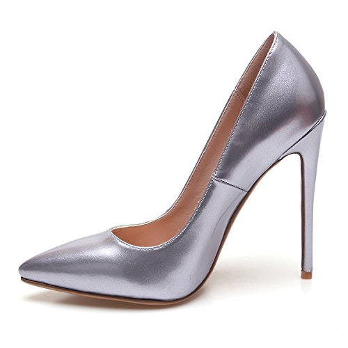 Femmes Pointu Chaussures À Pompes Argenté Fermer Toe Hauts Talons De Stiletto Zaproma Mariage ZHqpBdp