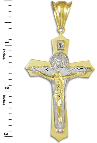 10 ct 471/1000 Deux-Tons Or Sainte Celtique Crucifix Pendentif