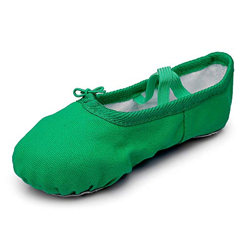 Canvas Kid Ballet Dancing Yoga Performance Flats,Green,Toddler,8.5M US