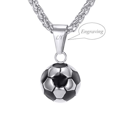 - U7 Stainless Steel Black Enamel & White Soccer Ball Pendant with 22 Inch Wheat Chain (A. Silver (Personalized))