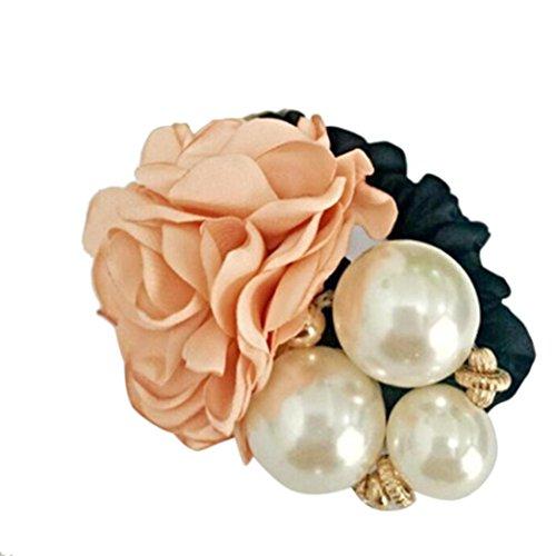 (Women Satin Ribbon Rose Flower Pearls Hairband Ponytail Holder Hair Band (Khaki))