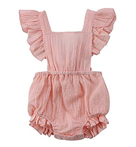 C&M Wodro Infant Baby Girl Bodysuit Sleeveless Ruffles Romper Sunsuit Outfit Princess Clothes (Pink, 12-18 Months) -