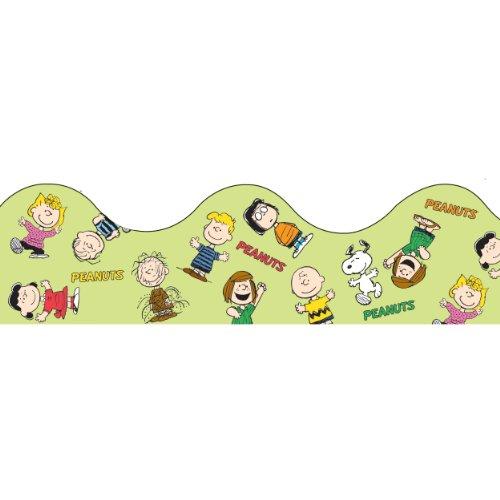 "Eureka Peanuts Gang Scalloped Deco Trim, Set of 12 Reusable Strips, Each Strip Measuring 37"" long"