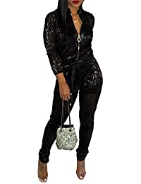 55702231d2 Womens Sexy V Neck Glitter Long Sleeve Zipper Drawstring Bodycon High  Waisted One Piece Jumpsuits Rompers