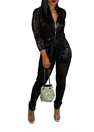 Remelon Womens Sexy V Neck Glitter Long Sleeve Zipper Drawstring Bodycon High Waisted One Piece Jumpsuits Rompers Black - Sequin High Waisted
