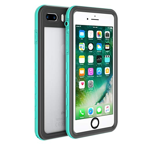 (Fansteck Waterproof Case for iPhone 8 iPhone 7, IP68 Full-Body Protect Rugged Slim Crystal Case with Built-in Screen Protector, Waterproof/Snowproof/Shockproof/Dirtproof, 4.7 inch (Mint)