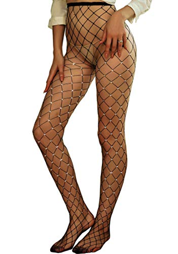 Betteraim Women's Hollow Out Rhinestone Fishnet Pantyhose Tights (Free Size, Black 2) -