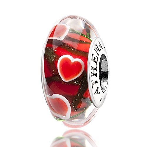 (ATHENAIE Genuine Murano Glass 925 Silver Core Wandering Hearts Charm Bead fit European Bracelets )