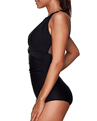 Tempt Me Women One Piece High Neck V-neckline Mesh Ruched Monokini Swimwear