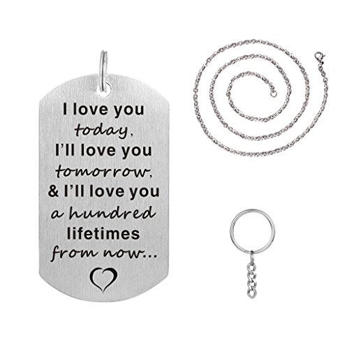 I Love You Today Tomorrow and Lifetimes Pendant Necklace Stainless Steel Dog Tag (Key Love Necklace)