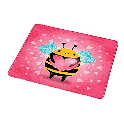 Desktop Mousepad Queen Bee,Love Valentines Day Bumblebee Holding a Giant Heart Cartoon Style,Coral Pale Blue Yellow,Non-Slip Rubber Mousepad 9.8