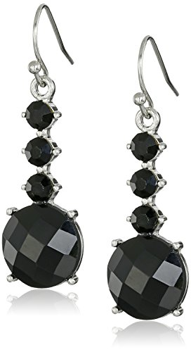 1928 Jewelry Silver-Tone Black Faceted Drop - Tone Silver Jet Faceted