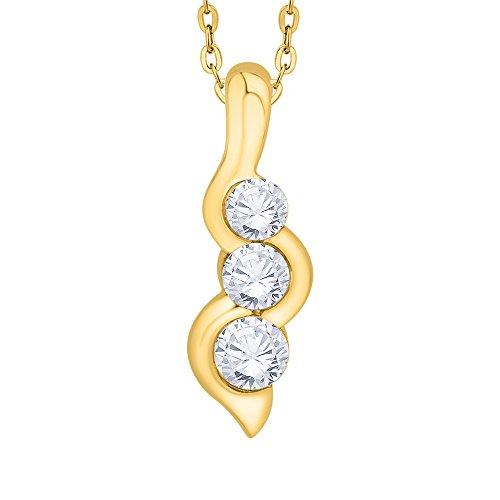 KATARINA Half-Bezel Set Three Stone Graduating Diamond Pendant Necklace in 14K Yellow Gold (1/2 cttw, J-K, SI2-I1)