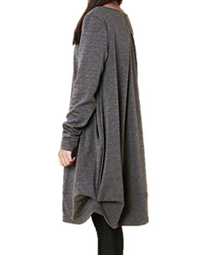 Top Over Manches Lache Shirt Blouse Robe Pull Zanzea Longues Gris Longues Jumper Tunique Imprim Femme x41qzXw0B