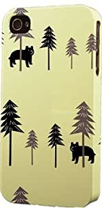 Bear & Tree Pattern Dimensional Case Fits Apple iPhone 4 or iPhone 4s