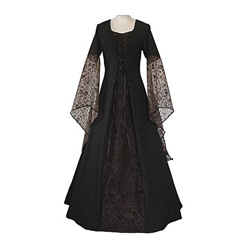 Black Gown Costume (Womens Renaissance Medieval Costume Lace Up Floor Length Gown Long Dress (XXL, black))