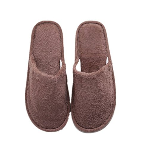 Slippers,Woopower Women Men Long Plush Cotton Shoes Home Indoor Winter Slippers (Male)coffee