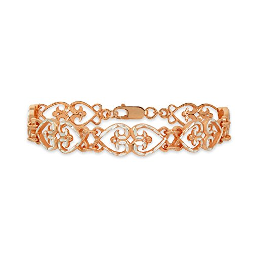 Two-Tone Rose Gold Flashed Sterling Silver Filigree Hearts Diamond-Cut Link Bracelet