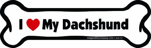 - Imagine This Bone Car Magnet, I Love My Dachshund, 2-Inch by 7-Inch