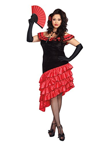 [Dreamgirl Women's Plus-Size Spanish Dancer Costume, Black/Red, 3X/4X] (Plus Size Womens Halloween Costumes 2016)