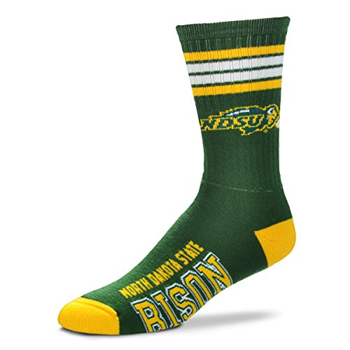 For Bare Feet NCAA 4 Stripe Deuce Crew Men Socks-North Dakota State Bison-Large
