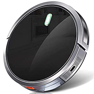 Robot Vacuum Cleaner with 1400Pa Strong Suction, 2600mAh Battery, Drop-Sensing Technology and Self-Charging Robotic Vacuum Cleaner for Low-pile Carpet and Hard Floor, HEPA filter for Pet Hair & Allerg