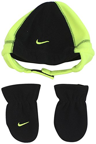 Nike Infant Baby 2 Piece Fleece Hat and Mittens Set (Black (6A2298-982) / Volt/Black, 12-24 Months)