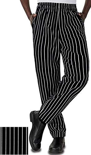 Baggy Chalk Stripe Chef Pants with Fly (2XL) by New Eagle