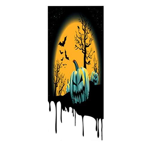 VORCOOL Pumpkin Black Crow Pattern Door Sticker Self Adhesive Removable Door Wall Mural Wallpaper for Halloween Decoration Party Supplies (Style 55)