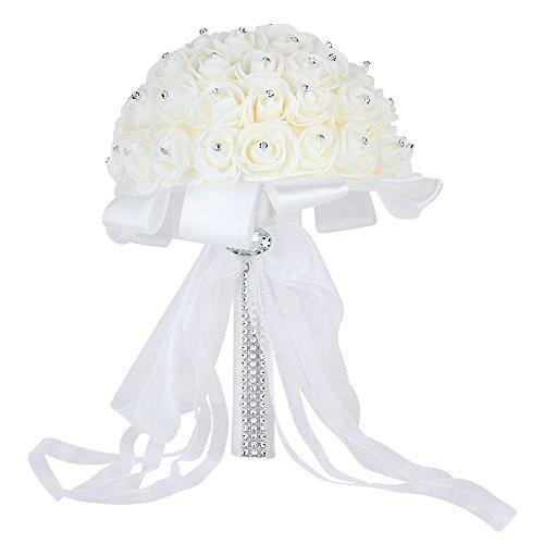 Wedding Bridal Bouquet, Febou Handmade Crystal Ribbon Rhinestone Wedding Bridesmaid Bouquet, Bridal Artificial Flowers for Wedding