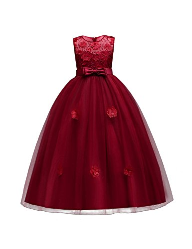 aibeiboutique Flower Girl Dresses Pageant Princess Bridesmaid Dress for Wedding First Communion (11-12 Years, Maroon) -