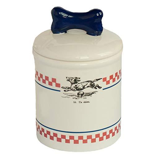 (Creature Comforts Bistro Treat Jar - Red, White & Navy Vintage Dog - Small)