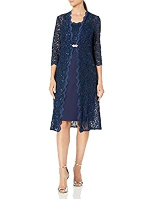 R&M Richards Women's Beaded Chiffon Jacket Dress