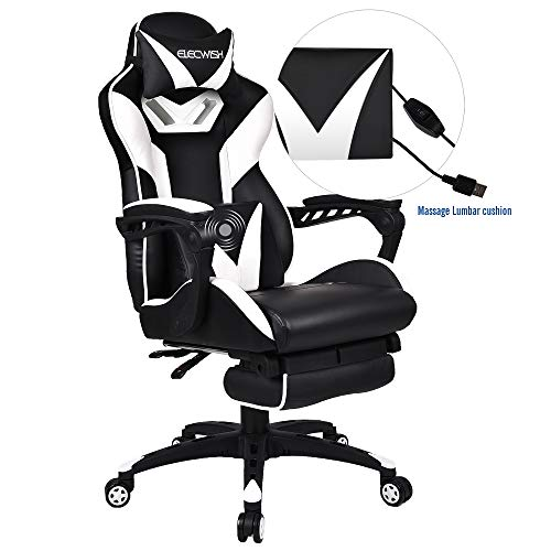ELECWISH Ergonomic High-Back Gaming Chair with Massage Function Office Desk Chair Swivel Black PC Gaming Chair with Extra Soft Headrest, Lumbar Support and Retractible Footrest White