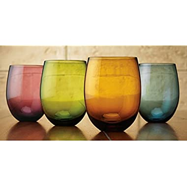 Tuscana Asst Color 14oz Stemless Wine Glass S/4
