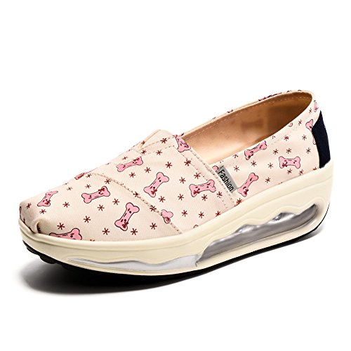 TIOSEBON Women's Canvas Walking Exercise Slip on Sneakers - Comfortable Fitness Shoe