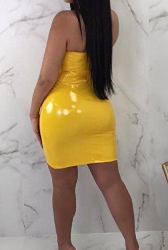 Con Pu Giallo Discoteca Di Coolred Sexy donne Adatto Petto Cerniera Avvolto Silm Vestito 175z5xnSqw