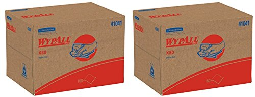 WypAll 41041 X80 Wipers, BRAG Box, HYDROKNIT, Blue, 12 1/2 x 16 4/5 , 160 Wipers (2 Pack)