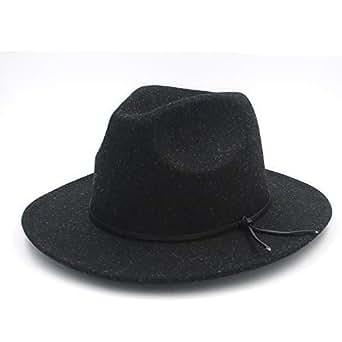 SHENTIANWEI Fashion Men Women Fedora Hat Wide Brim Church Hat Pop Panama Hat Outdoor Travel Fascinator Casual Hat Size 56-58CM (Color : Black, Size : 56-58)