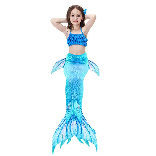 2019 3 Pcs Mermaid Tails for Swimming for Girls Can Add Monofin, Bikini Swimsuit Set Mermaid Tails Birthday Gifts for Kids by AMENON (Image #5)